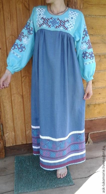 Одежда ручной работы. Ярмарка Мастеров - ручная работа. Купить платье с Обережой вышивкой. Handmade. Традиционная одежда, русская рубаха