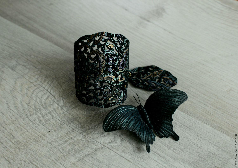 Ажурный кожаный браслет