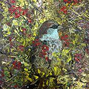 Картины и панно ручной работы. Ярмарка Мастеров - ручная работа Птица маслом на оргалите не дорогая картина воробей. Handmade.