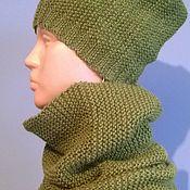 Одежда ручной работы. Ярмарка Мастеров - ручная работа Снуд с шапкой ШЕРСТЬ. Handmade.