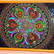 Картины и панно ручной работы. Ярмарка Мастеров - ручная работа картина на стекле мандала Счастливая. Handmade.