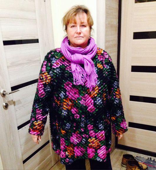"""Верхняя одежда ручной работы. Ярмарка Мастеров - ручная работа. Купить Пальто из павлопосадского платка """"Павловские розы"""" в технике синель. Handmade."""