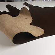 Материалы для творчества handmade. Livemaster - original item Leather: ARKANSAS. Brown with trim, beige base. 3 mm.. Handmade.