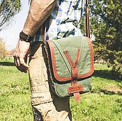 Сумки и аксессуары handmade. Livemaster - original item Men`s shoulder bag made of leather and linen. Handmade.