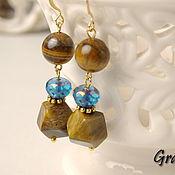 Украшения handmade. Livemaster - original item Long earrings with stones of blue-Eyed tiger. Handmade.