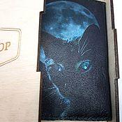 """Обложки ручной работы. Ярмарка Мастеров - ручная работа Обложка из кожи ,,Черная кошка в ночи"""". Handmade."""
