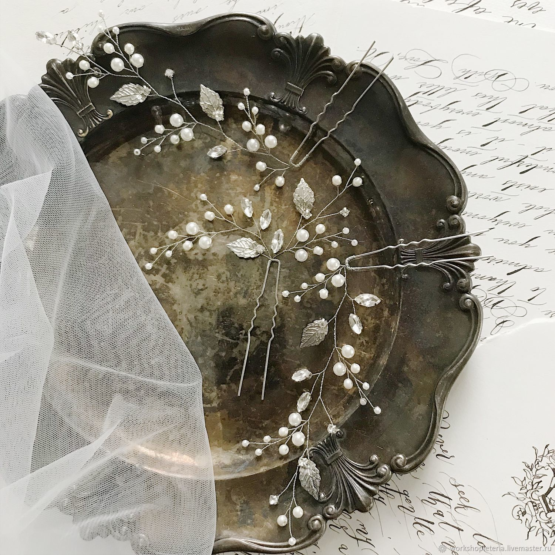 Шпилька для свадебной прически, шпильки для невесты, Украшения, Санкт-Петербург, Фото №1