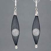 Украшения handmade. Livemaster - original item Mesh tube earrings with pearls. Handmade.