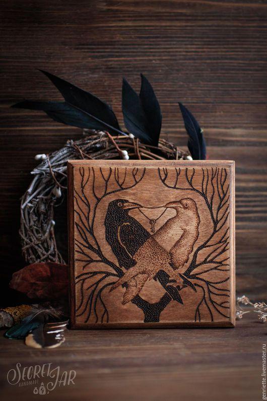 """Шкатулки ручной работы. Ярмарка Мастеров - ручная работа. Купить Шкатулка """"Два ворона"""" в технике пирографии. Handmade. Коричневый"""
