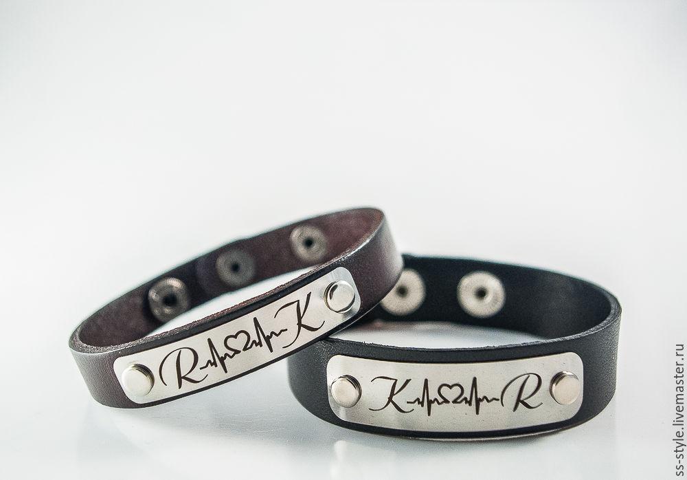 Парные браслеты из кожи для влюбленных