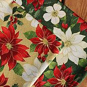 Ткани ручной работы. Ярмарка Мастеров - ручная работа Ткань для пэчворка новогодняя Пуансеттия. Handmade.