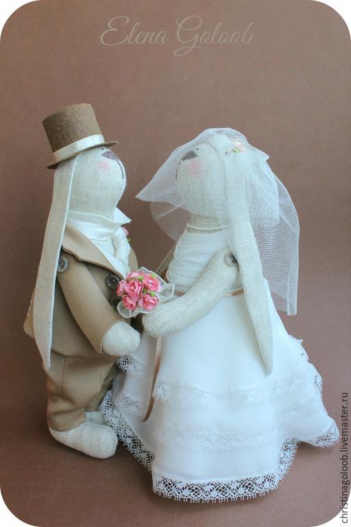 Куклы Тильды ручной работы. Ярмарка Мастеров - ручная работа. Купить Свадебная пара зайчиков в молочно-бежевом цвете. Handmade.