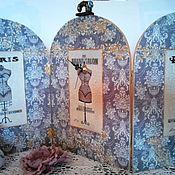 """Для дома и интерьера ручной работы. Ярмарка Мастеров - ручная работа Часы настольные большие """"Ширма """"Серый закат"""". Handmade."""