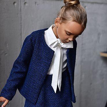 Одежда ручной работы. Ярмарка Мастеров - ручная работа Жакет из твида синего цвета. Handmade.