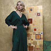 Одежда ручной работы. Ярмарка Мастеров - ручная работа Платье темное-зеленое. Handmade.