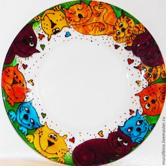 Тарелка Страна Мурлындия. Веселая, прозрачная тарелка Страна Мурлындия -  замечательный позитивный подарок всем котоманам, который подарит хорошее настроение!)