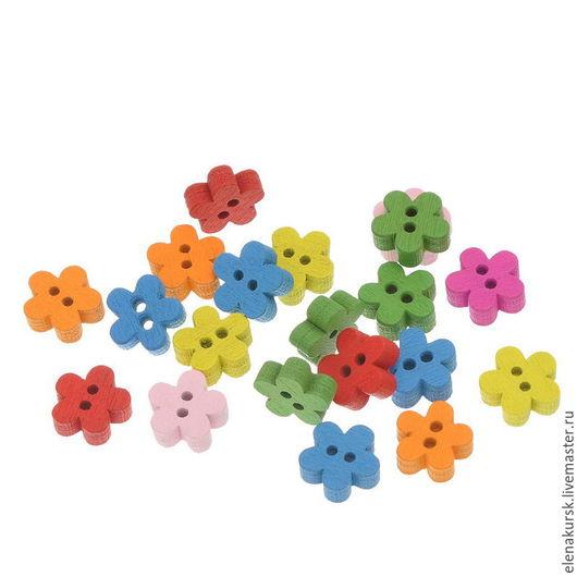 Шитье ручной работы. Ярмарка Мастеров - ручная работа. Купить Пуговицы дерево цветок 11 мм. Handmade. Комбинированный