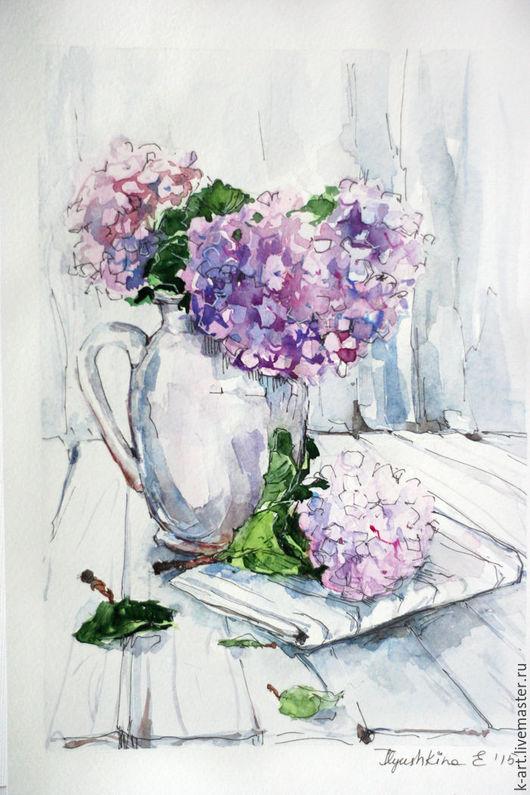 Картины цветов ручной работы. Ярмарка Мастеров - ручная работа. Купить Стеклянная  Гортензия. Handmade. Сиреневый, розовый, илюшкина катерина