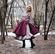Одежда ручной работы. Ярмарка Мастеров - ручная работа Платье льняное с юбкой в клетку.. Handmade.