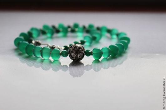 """Колье, бусы ручной работы. Ярмарка Мастеров - ручная работа. Купить Колье """"Венера"""" из Хризопраза и Изумруда в серебре. Handmade. Зеленый"""