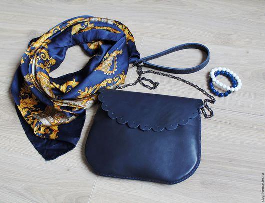 Женские сумки ручной работы. Ярмарка Мастеров - ручная работа. Купить Кожаная сумочка ручной работы синяя. Handmade.