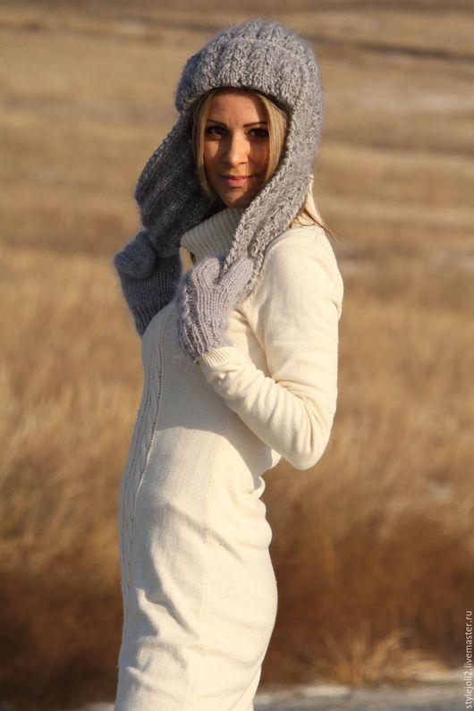 Шапки ручной работы. Ярмарка Мастеров - ручная работа. Купить Grey - Вязаная шапка с ушами, теплая зимняя шапка. Handmade.