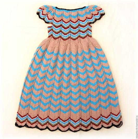 Одежда для девочек, ручной работы. Ярмарка Мастеров - ручная работа. Купить Вязаное платье детское.. Handmade. Разноцветный, платье полосатое