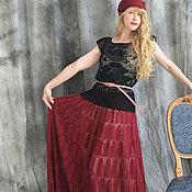 """Одежда ручной работы. Ярмарка Мастеров - ручная работа """"Марсала"""" вязаный крючком комплект - роскошная юбка в пол и берет. Handmade."""