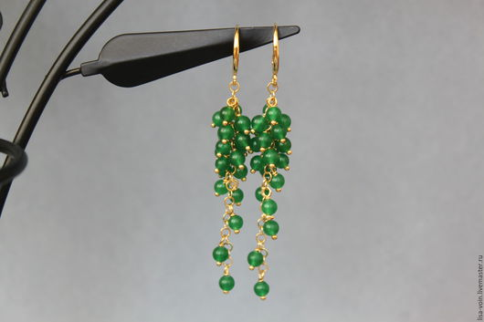 """Серьги ручной работы. Ярмарка Мастеров - ручная работа. Купить Серьги """"Tassels emerald"""" жадеит зеленый, позолоченная фурнитура.. Handmade."""