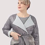 Одежда handmade. Livemaster - original item Jacket short grey fur pockets print knit quilted. Handmade.