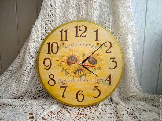 """Часы для дома ручной работы. Ярмарка Мастеров - ручная работа. Купить Часы круглые  """" Подсолнухи"""". Handmade. Часы декупаж"""