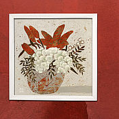 Картины и панно handmade. Livemaster - original item Painting on canvas Lilies (gray, white, terracotta). Handmade.