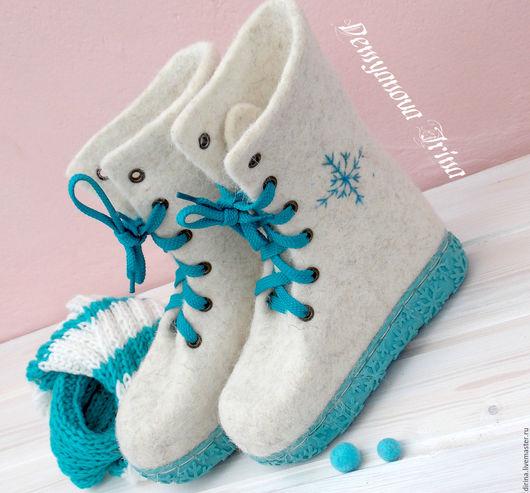 """Обувь ручной работы. Ярмарка Мастеров - ручная работа. Купить Детские ботиночки""""Снежинка"""". Handmade. Белый, ботинки зимние, зимняя обувь"""