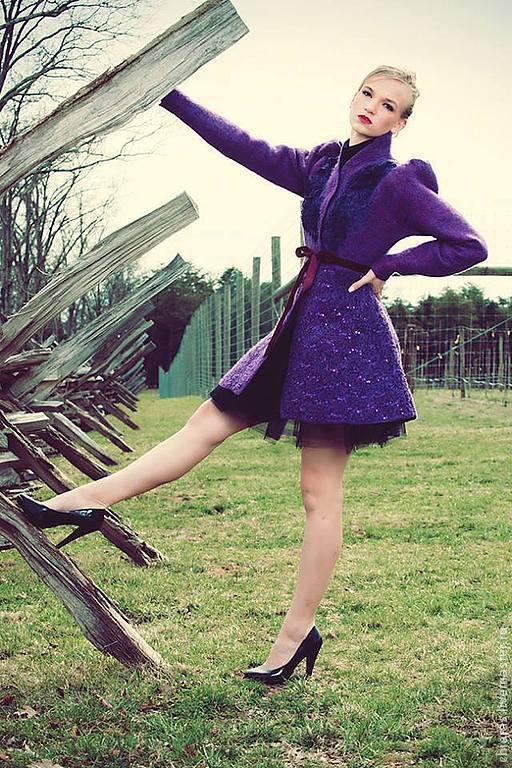 """Верхняя одежда ручной работы. Ярмарка Мастеров - ручная работа. Купить авторское пальто ручной работы из шерсти и шелка""""Purple"""". Handmade."""