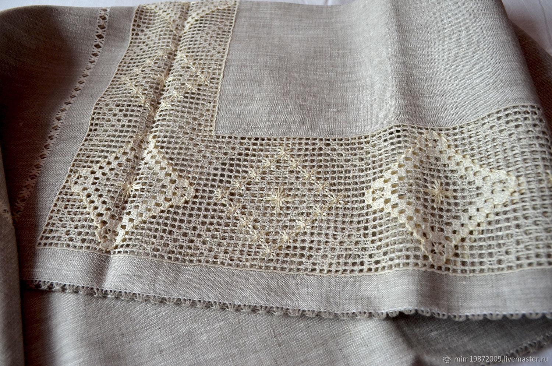 Large tablecloth gray linen ivory embroidery, Tablecloths, Krasnodar,  Фото №1
