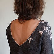 Одежда ручной работы. Ярмарка Мастеров - ручная работа Кофточка серая с яблоневыми цветками. Handmade.