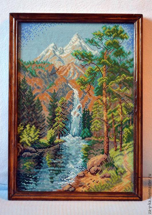 """Пейзаж ручной работы. Ярмарка Мастеров - ручная работа. Купить Картина """"Водопад"""". Handmade. Зеленый, картина, картина в подарок"""