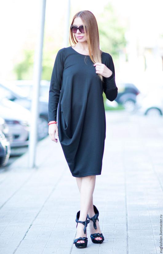 Черное платье. Платье с длинным рукавом. Платье. Ручная работа. Ярмарка Мастеров.