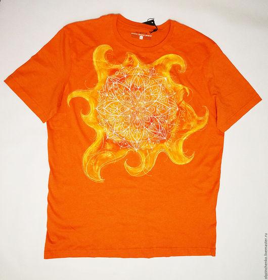 """Для мужчин, ручной работы. Ярмарка Мастеров - ручная работа. Купить Роспись по ткани """"Солнце"""". Handmade. Рыжий, мандала, огонь"""