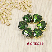 Материалы для творчества handmade. Livemaster - original item Glass rhinestones Heart 10mm Birch wood. Handmade.