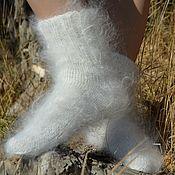 Аксессуары handmade. Livemaster - original item White socks cashmere (goat`s down)