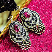 Украшения handmade. Livemaster - original item Earrings Art Deco. Fuchsia. Soutache earrings. bead earrings.. Handmade.