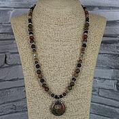 Украшения handmade. Livemaster - original item Necklace with a pendant made of unakite,jasper, serpentine stones. Handmade.