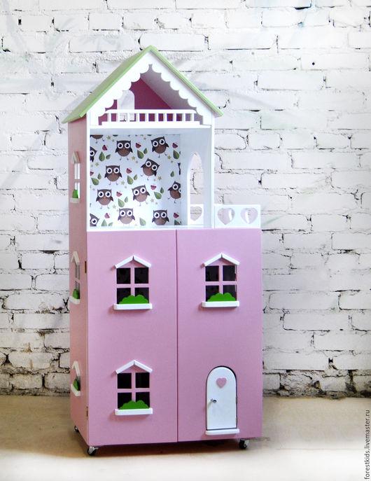 Кукольный дом ручной работы. Ярмарка Мастеров - ручная работа. Купить Кукольным дом с Совятами. Handmade. Розовый, кукольный домик