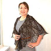 Аксессуары handmade. Livemaster - original item Downy shawl knit black coffee knitted shawl. Handmade.