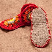 """Обувь ручной работы. Ярмарка Мастеров - ручная работа Вязаные домашние тапочки """"Красный апельсин"""". Handmade."""