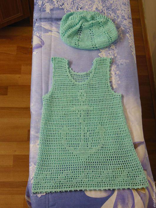 Одежда для девочек, ручной работы. Ярмарка Мастеров - ручная работа. Купить Сарафан вязанный детский с беретом. Handmade. Голубой