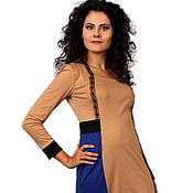 Одежда ручной работы. Ярмарка Мастеров - ручная работа Комбинированное трикотажное платье, разные цвета, р-ры 42-50. Handmade.