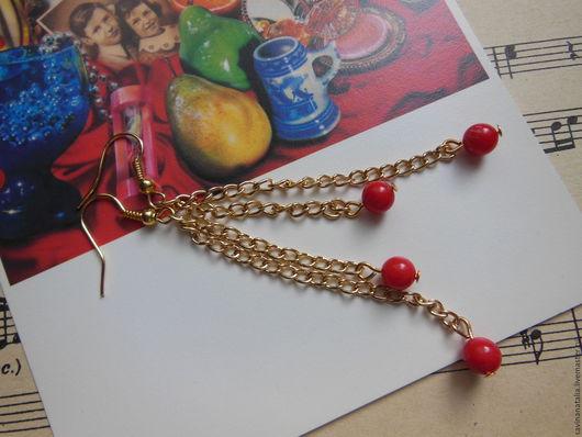 """Серьги ручной работы. Ярмарка Мастеров - ручная работа. Купить Серьги """"Калина красная"""" с кораллами. Handmade. Ярко-красный, подарок"""