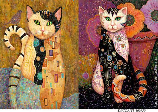 Декупаж и роспись ручной работы. Ярмарка Мастеров - ручная работа. Купить Лоскутные кошки (D100730) - рисовая бумага, А4. Handmade.